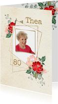 Uitnodiging gouden kaders met rode en roze rozen