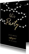 Uitnodiging gouden 'let's party' met lampjes
