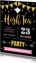 Uitnodiging High Tea typografie slinger confetti goud roze
