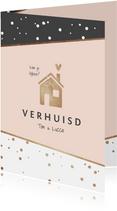 Uitnodiging hip stijlvol housewarming verhuisd huisje goud
