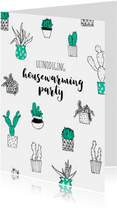 Uitnodiging housewarming party cactussen planten
