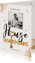 Uitnodiging housewarming sleutel waterverf foto goud