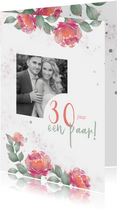 Uitnodiging huwelijksjubileum rozen waterverf - staand
