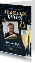Uitnodiging jubileum borrel 25 jaar champagne goud foto clip