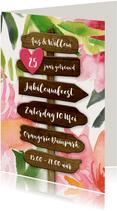 Uitnodiging jubileum botanische wegwijzer bloemen hout