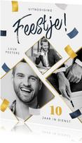 Uitnodiging jubileum feestje dienstverband fotokaart confett