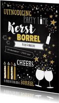 Uitnodiging 'kerst' borrel trendy typografische kaart