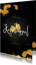 Uitnodiging kerstborrel zakelijk met proostende glazen goud