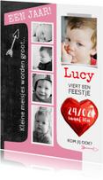 Uitnodiging kinderfeestje 1 jaar Lucy