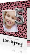 Uitnodiging kinderfeestje 5 jaar stoer panterprint