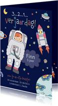 Uitnodiging kinderfeestje astronaut