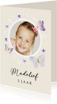 Uitnodiging kinderfeestje bloemetjes en vlinders