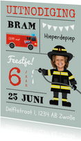 Uitnodiging kinderfeestje brandweer en brandweerauto thema