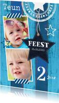 Uitnodiging kinderfeestje fotocollage hout blauw
