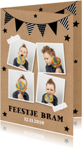 Uitnodiging kinderfeestje fotocollage slinger kraftprint
