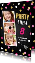 Uitnodiging kinderfeestje krijtbord meisje confetti