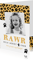 Uitnodiging kinderfeestje meisje panter luipaard roze jungle