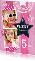 Uitnodiging kinderfeestje meisje roze hout