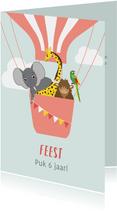 Uitnodiging kinderfeestje met dieren in een luchtballon