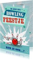 uitnodiging kinderfeestje met thema bowlen