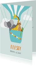 Uitnodiging kinderfeestje met vrolijke diertjes in ballon