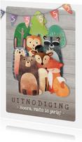 Uitnodiging kinderfeestje naar het bos met dieren