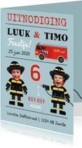 Uitnodiging kinderfeestje tweeling brandweer