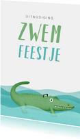 Uitnodiging kinderfeestje zwemmen krokodil