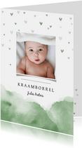 Uitnodiging kraamfeest baby waterverf hartjes foto groen