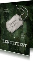 Uitnodiging lentefeest army stoer met legerplaatje