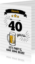 Uitnodiging let's party & have some beers zwart wit