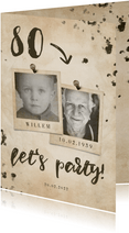 Uitnodiging 'let's party' vintage met leeftijd en foto's