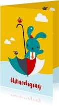 Uitnodiging - Lief konijntje in paraplu