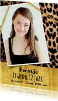 Kinderfeestjes - Uitnodiging meiden feest stoere foto kaart met panterprint