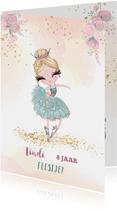 Uitnodiging met prinses balletmeisje