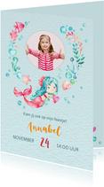 Uitnodiging met zeemeermin + eigen foto