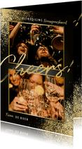 Uitnodiging nieuwjaarsborrel gouden spetters cheers & foto's
