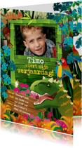 Uitnodiging partijtje jongen dinosaurus