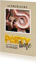 Uitnodiging - party time goudkleurige ballonnen