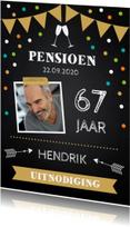 Uitnodiging pensioen foto confetti krijtbord