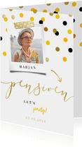 Uitnodiging pensioen goud met feestelijke confetti