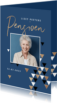Uitnodiging pensioen grafisch driehoek foto goud