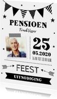 Uitnodiging pensioen slinger foto zwart-wit