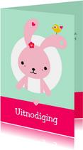 Uitnodiging - Roze konijntje in cirkel