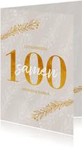 Uitnodiging samen 100 in goudlook en takjes