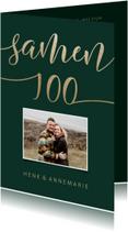 Uitnodiging Samen 100 met goudlook en foto