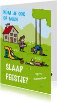 Uitnodiging Slaapfeestje Slapend in de tuin