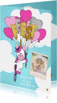 Uitnodiging trendy foto kaart met unicorn en ballonnen
