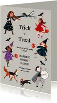 Uitnodiging Trick or Treat kinder verkleed optocht