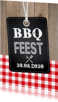 Uitnodiging tuinfeest BBQ label hout krijtbord